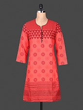 Quarter Sleeve Funnel Neck Geometric Sleeve Red Cotton Kurti - ANJANI KURTIS