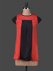 Red & Black Color Block Fit & Flare Top - M Expose