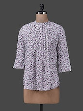 Pin Tucked Printed Quarter Sleeve Top - M Expose