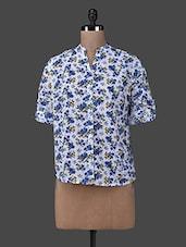 Blue Floral Printed Mandarin Collar Shirt - M Expose