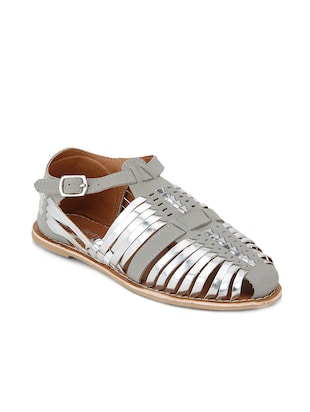 Grey genuine leather casual sandals