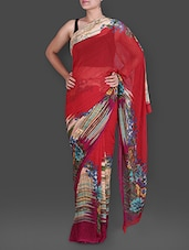 Abstract Floral Print Red Georgette Saree - Saree Street