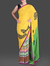 Floral Printed Yellow Georgette Saree - Saree Street