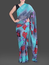 Floral Printed Blue And Grey Georgette Saree - Saree Street