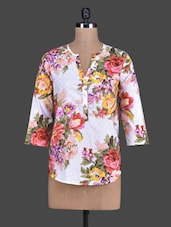 Floral Print Quarter Sleeves Cotton Top - Tops And Tunics
