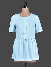 Solid Short Sleeves Crepe Dress - Tops And Tunics