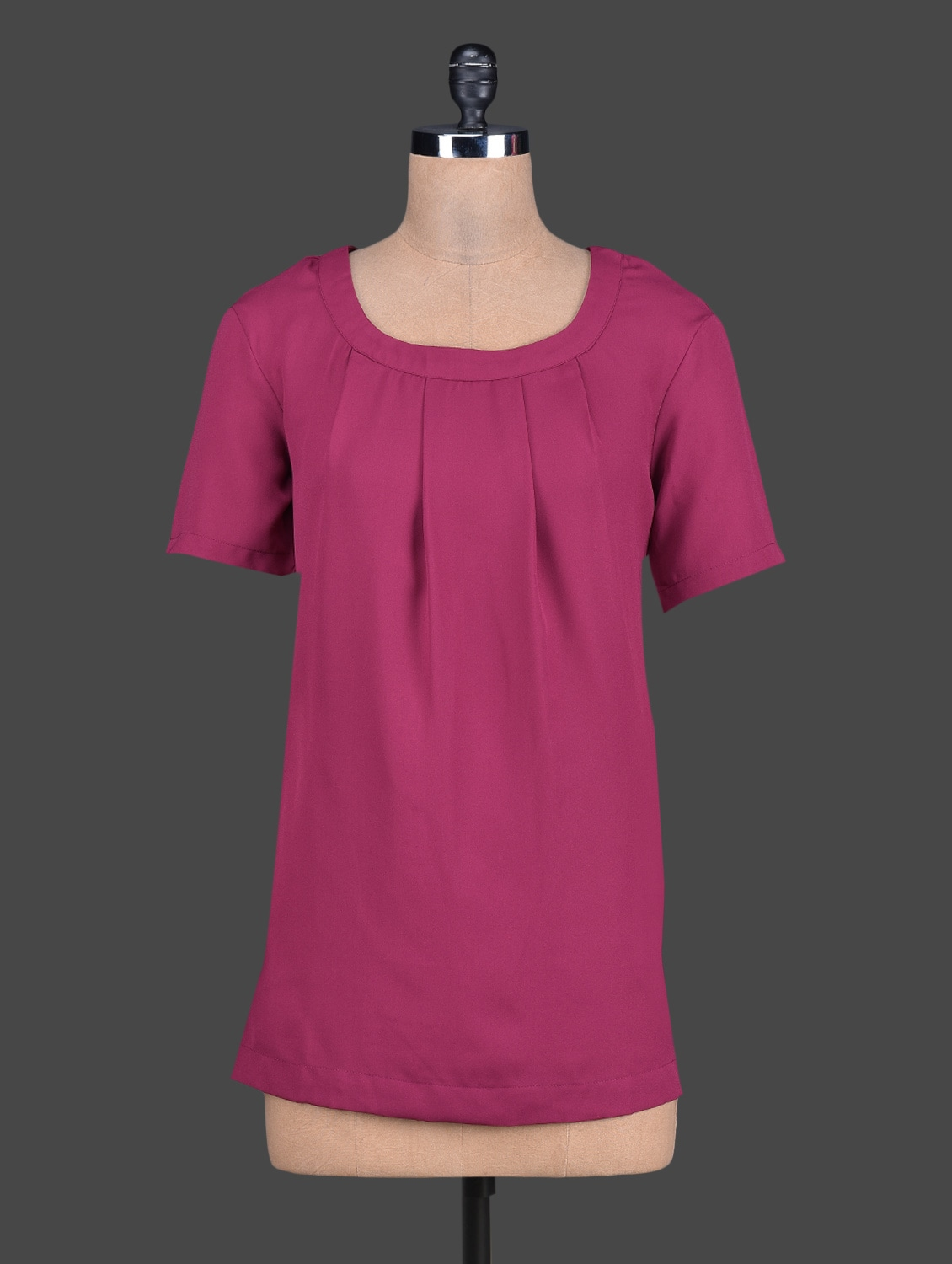 Pleated Round Neck Short Sleeves Crepe Top - Tops And Tunics