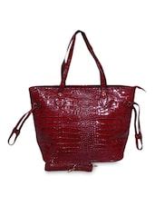 Maroon Faux Leather Tote Cum Sling - A-Progeny