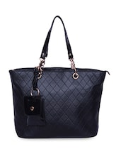 Textured Black Faux Leather Tote - A-Progeny