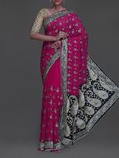 Black Embroidered Paisley Pallu Pink Saree - SareesHut