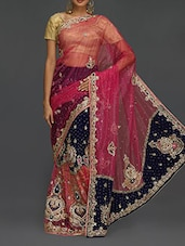 Heavy Embellished Velvet Pallu Net Sheer Saree - SareesHut