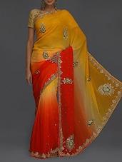 Embellished Yellow & Orange Ombre Saree - SareesHut
