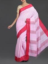 Baby Pink Handwoven Bengal Cotton Saree - Cotton Koleksi