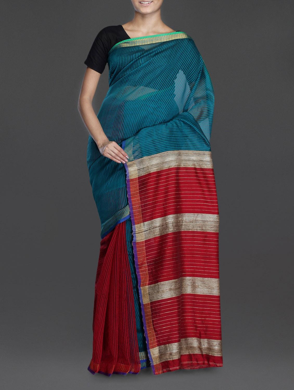 Bluish Green Handwoven Noel Saree With Gheecha Aanchal - Cotton Koleksi