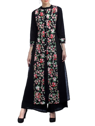 black cotton blend straight kurta