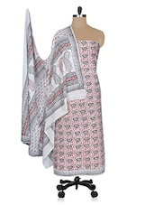 Cream And Maroon Printed Unstitched Suit Set - By