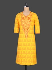 Yellow Embroidered Printed Paisley Cotton Kurta - Cotton Curio