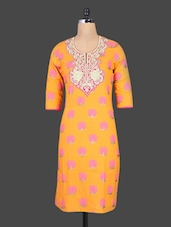 Orange Embroidered Printed Cotton Kurta - Cotton Curio