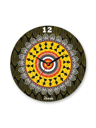 Multicoloured Baroque Warli Design Glass Clock