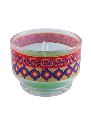 Multicoloured Glass Ikat Candle Holder