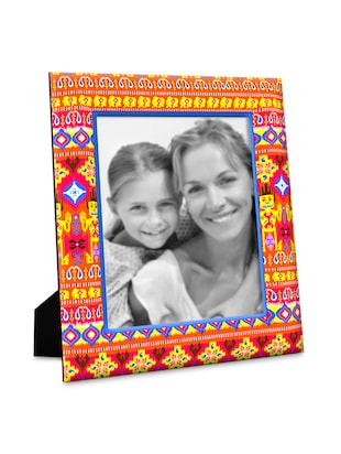 Multicolour ikat wooden fabric photo frame