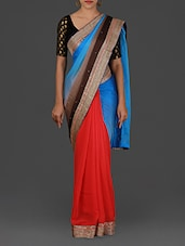 Embellished Blue And Red Satin Saree - By