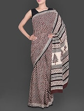 Leaf Printed Pallu Brown Cotton Saree - Anjani Sarees