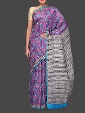 Hand Block Printed Purple Silk Saree - Shayeri