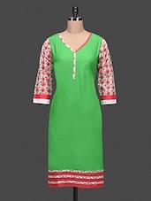Green Plain Printed Cotton Kurta - By