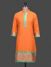 Orange Plain Sari Cotton Kurta - By