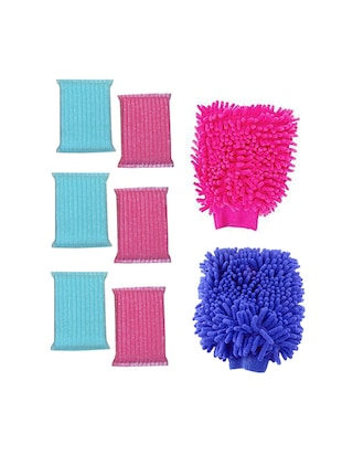 Home Creations Combo of 6 pcs scurbber and 2 pc Double side Cleaning Gloves