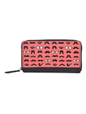 Pink And Black Quirky Print Wallet - THE BACKBENCHER