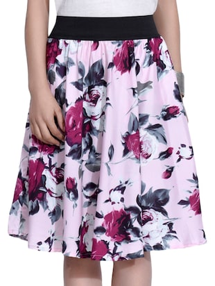 pink crepe floral print skirt -  online shopping for Skirts