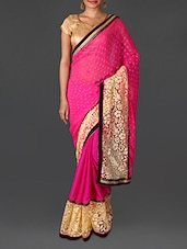 Pink Embroidered Poly Satin Chiffon Saree - By
