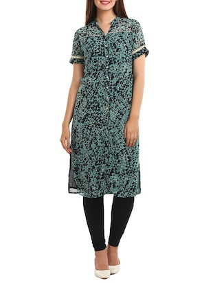 blue viscose kurta