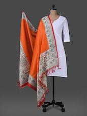Orange Printed Poly Silk Dupatta - Inara Robes