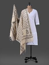 Black Block Printed Cotton Polysilk Dupatta - Inara Robes - 1157311