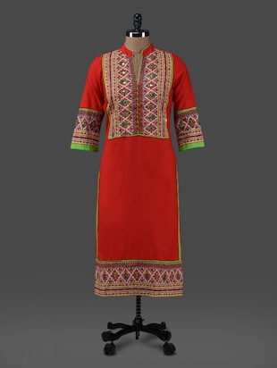 Red printed cotton kurta with mirror work
