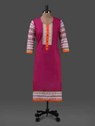 purple printed cotton kurta with front buttons