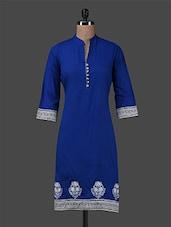 Red Plain Embroidered Cotton Kurta - Inara Robes