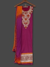 Purple  Embroidered Cotton Unstitched Salwar Suit Piece - Khushali