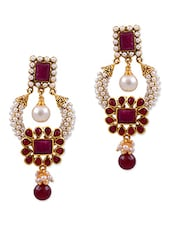 Red Copper Drop Earrings - By