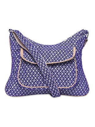 Blue Geometric Printed Sling Bag
