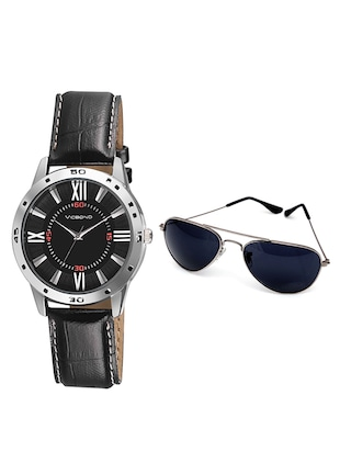 black  Analog Watch & Sunglasses Combo