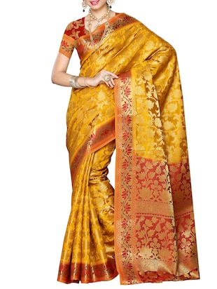 gold silk blend woven saree