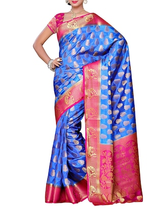 blue silk blend woven saree with blouse