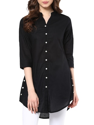 solid black cotton asymmetrical tunic