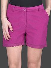Pink Lace Border Corduroy Shorts - Wildrose