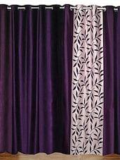 Elegance Purple  Printed 2 Door Curtains - By