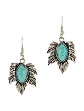 Blue Beaded Leaf Shaped Earrings - THE BLING STUDIO